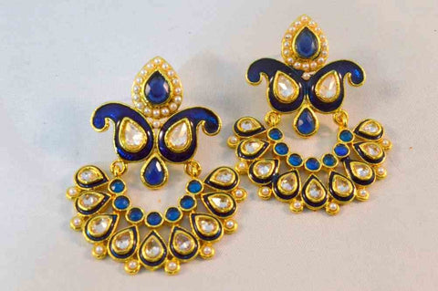 Beautiful Polki Earrings in Blue and White Colour - PO587