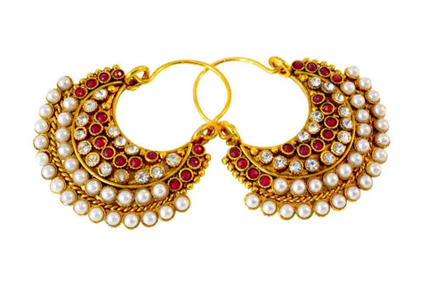 Designer Beautiful Polki Earrings Red and White Colour - PO609