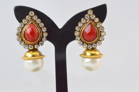 Dainty Polki Earrings in Red and White Colour - PO618