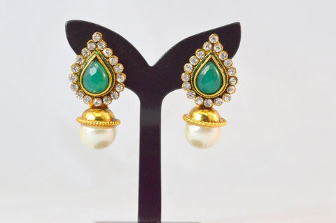 Adorable Polki Earrings in Green and White Colour - PO619