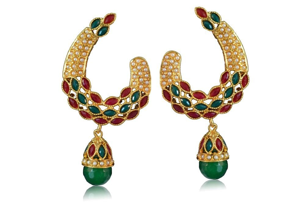 Beautiful Polki Earring Red & Green colour stones with Pearl PO624 By VastradiJewels