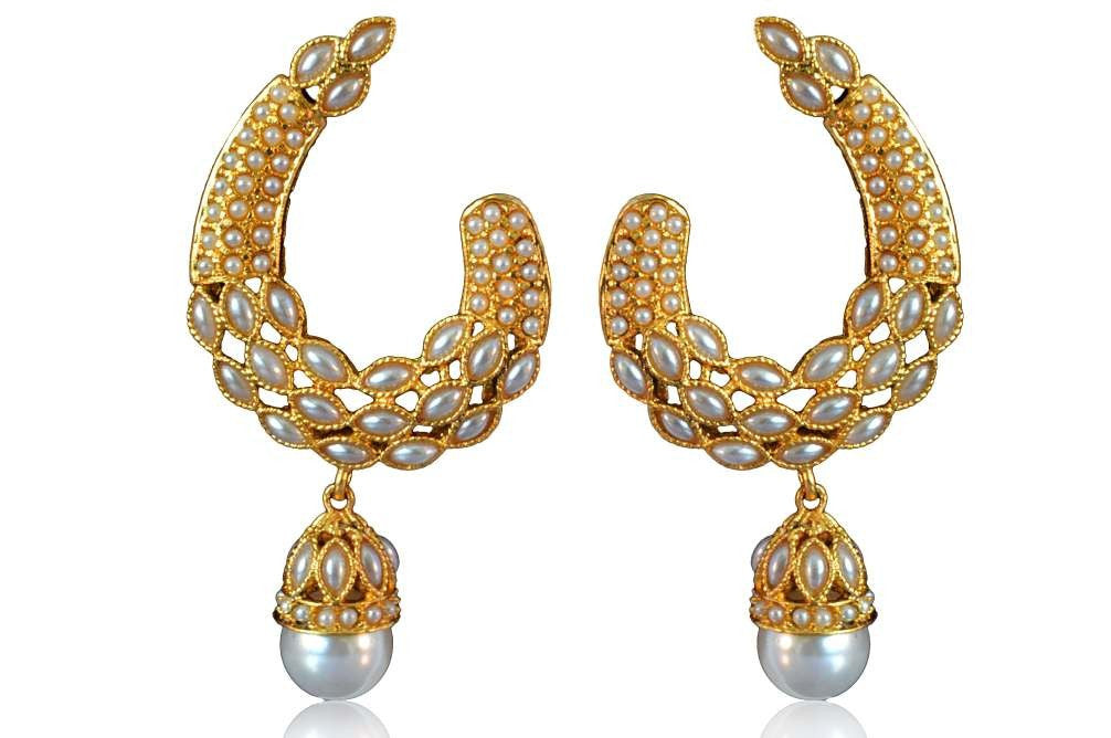 Beautiful Polki Earring with Pearls PO627 By VastradiJewels