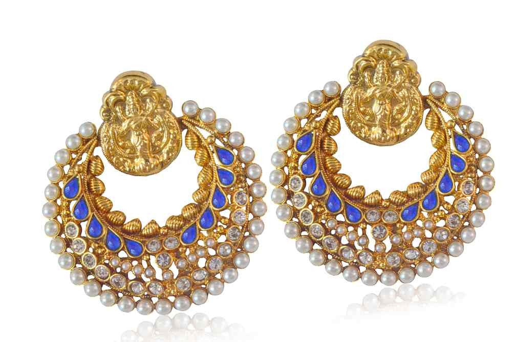 A Beautiful blue Polki chandbali Style Earring PO630 By VastradiJewels