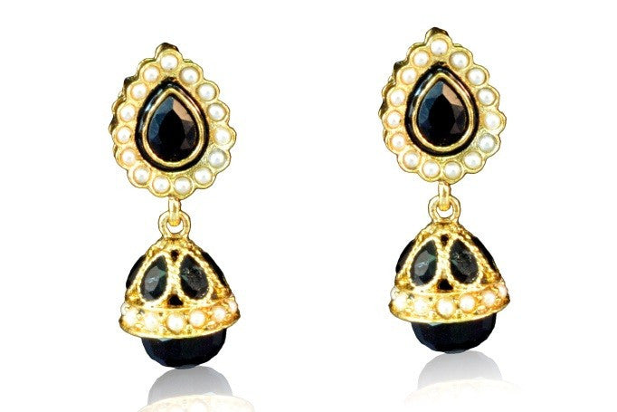 Cute Black colour Polki Earring PO638 By VastradiJewels.