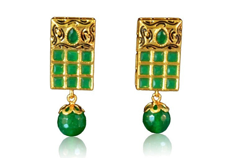 Beautiful Green Colour Polki Earring with drop PO644 By VastradiJewels.