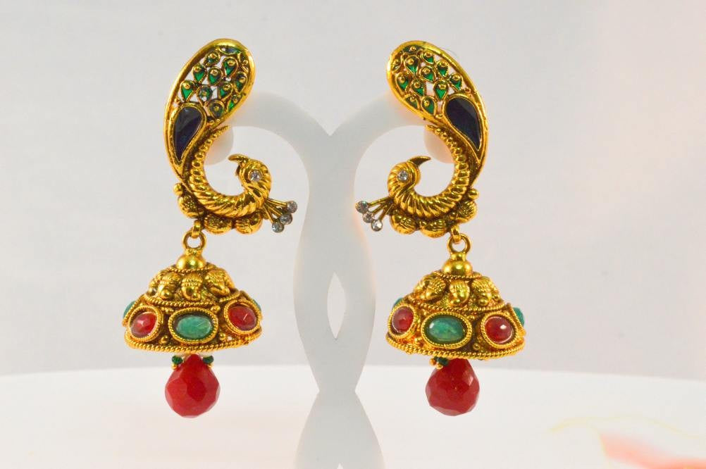 Beautiful Gold like Peacock Earring  PO645 By Vastradijewels