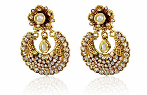 Attractive Polki Earrings in White Colour - PO647