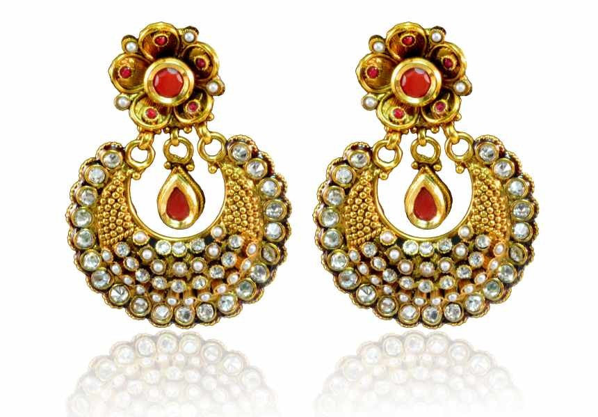 Beautiful Polki Earring Red & white stones with Pearls PO649 By VastradiJewels
