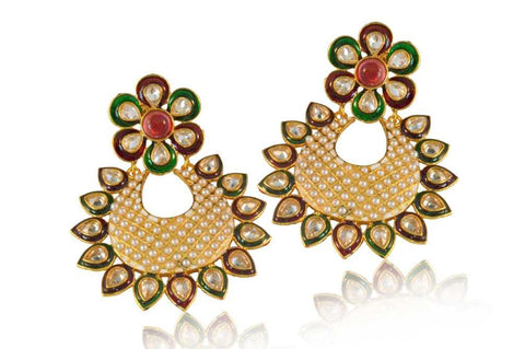 Beauteous Polki Earrings in Red, Green and White Colour - PO652