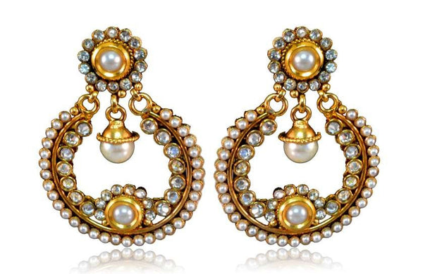 Polki earring with gold base studded with white stones