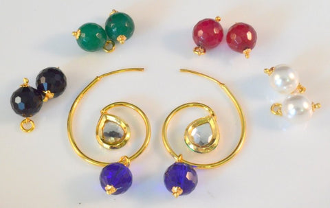 Changeable Stones Polki Earrings in Black, Green, Red, White and Blue Colour - PO670