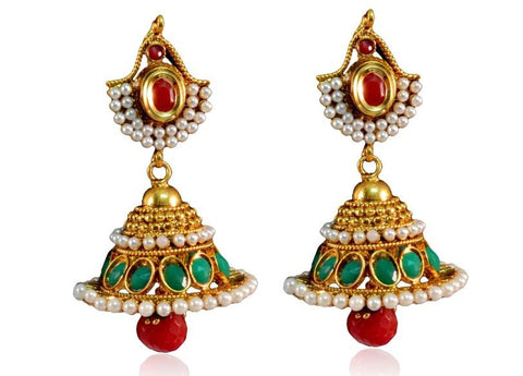 Artisanal Jhumkis Polki Earrings in Red, Green and White Colour - PO671