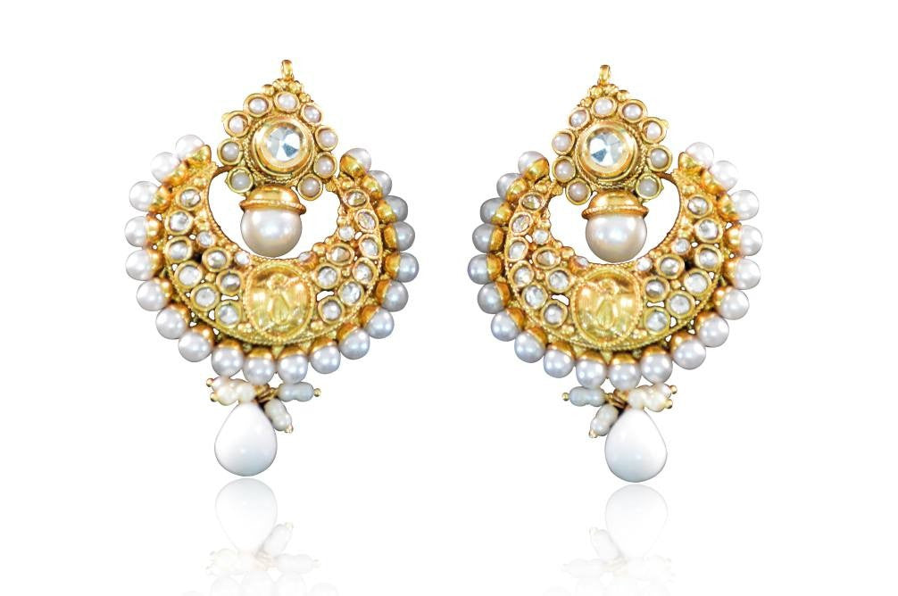 Elegant Polki Earrings with pearls and white stones colour  with drop PO684 by Vastradi Jewels
