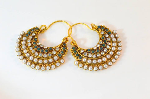 Captivating Polki Earrings in Green and White Colour - PO610