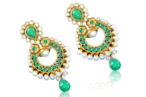 Alluring Polki Earrings in Turquoise and White Colour - PO709