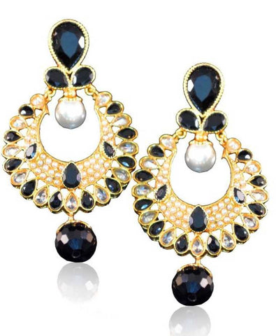 Beauteous Danglers Polki Earrings in Black and White Colour - PO715