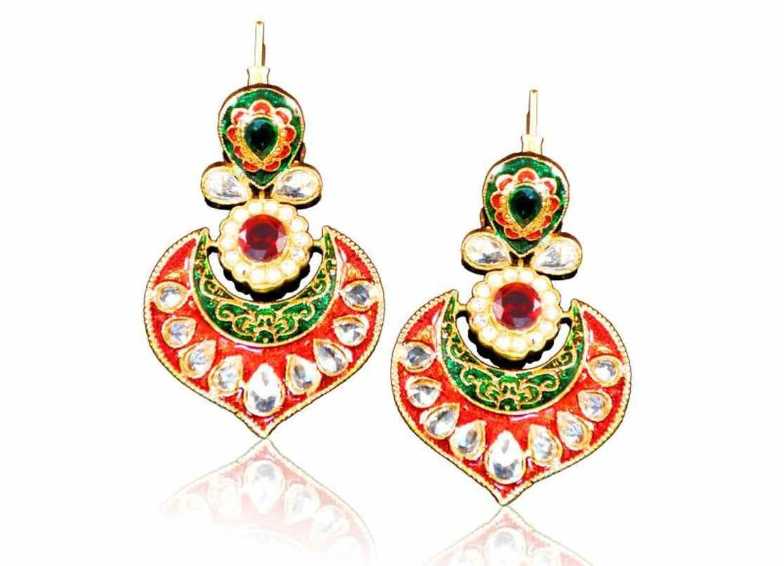 Beautiful Polki Danglers in Red & Green and Golden Combination PO717 by Vastradi Jewels