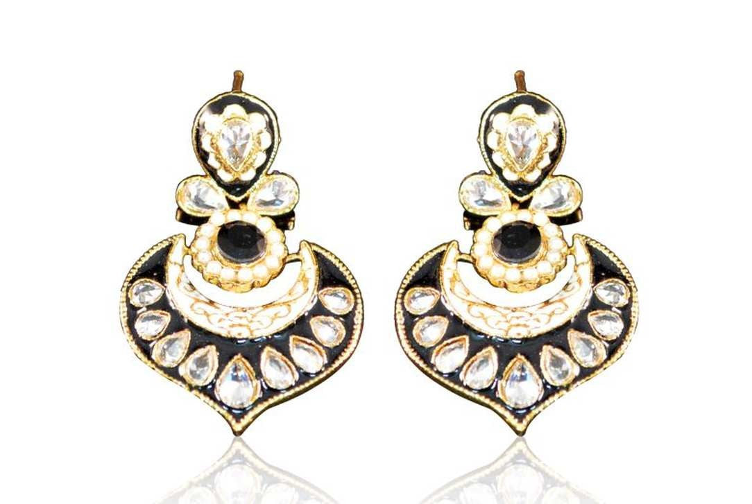 Beautiful Polki Danglers in Black & White Meenakari and Golden Combination PO718 by Vastradi Jewels