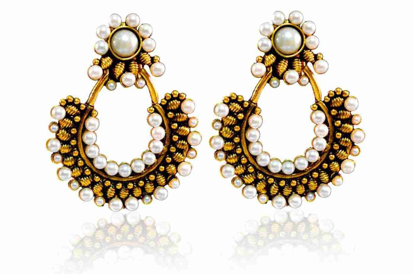 Designer Chandbali Style Earrings in Antique Golden Finish PO729 by Vastradi Jewels