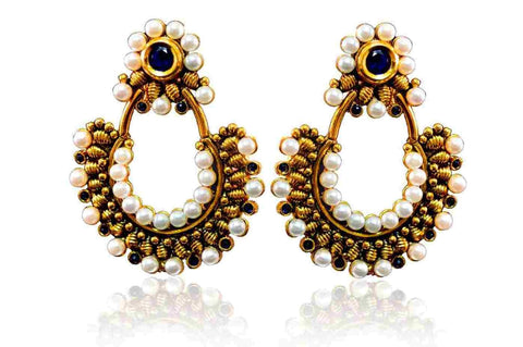 Attractive Polki Earrings in Blue and White Colour - PO730