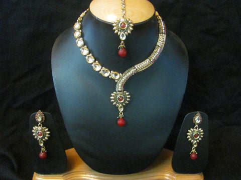 Distinctive Polki Neclace Set in Red and White Colour - POS175