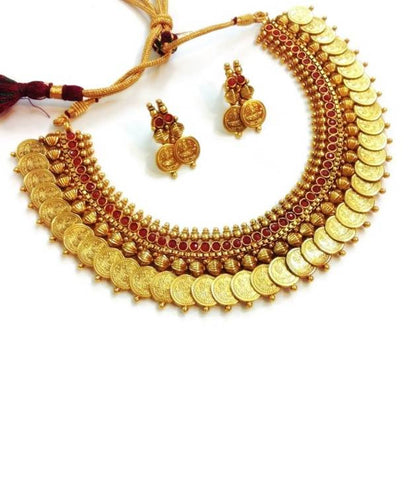Astounding Coin Lakshmi Polki Necklace Set in Red Colour - POS219