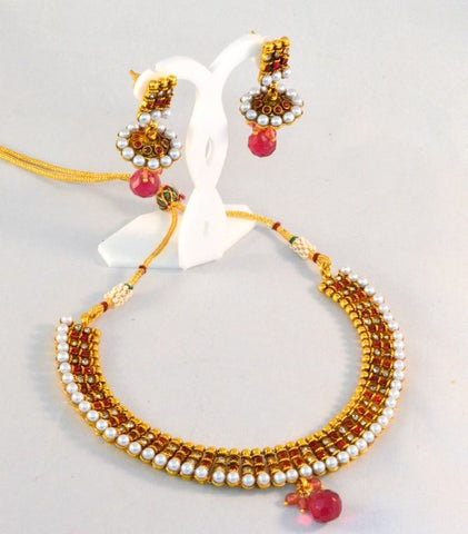 New designer polki Necklace Set with Red Stones & white stones with Golden finishing  - POS313 By VastradiJewels