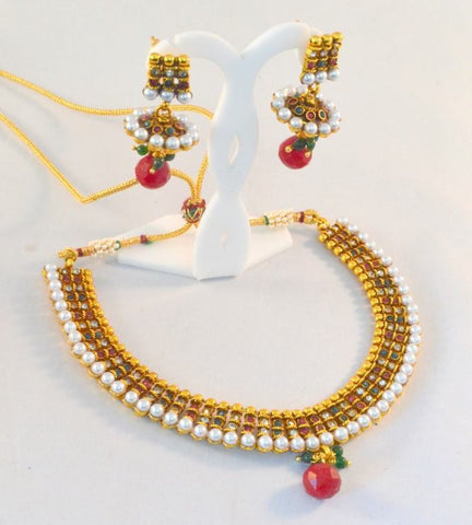 New designer polki Necklace Set with Red Stones & Green & white stones with Golden finishing  - POS314 By VastradiJewels