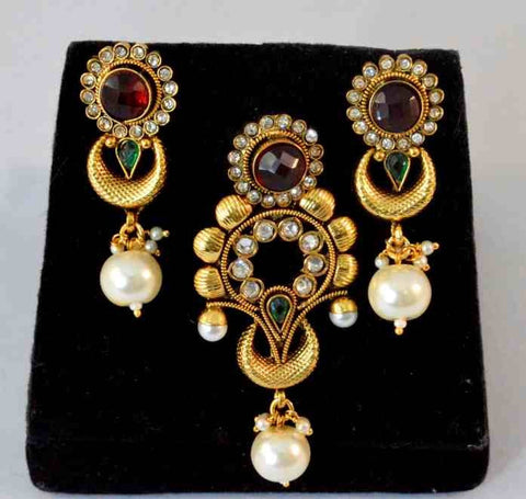 Beauteous Polki Pendant Set in Red, Green and White Colour - PS585