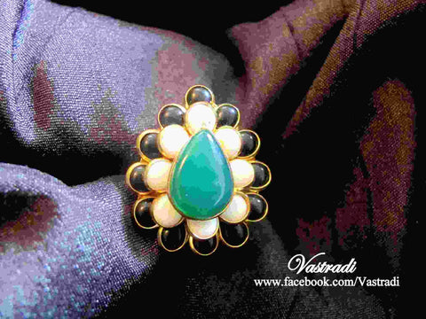 Pleasing Pachi Ring in Blue, Black and White Colour - R100