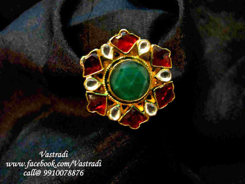 Red stones with golden finishing Adjustable Kundan Ring R212 by Vastradi Jewels