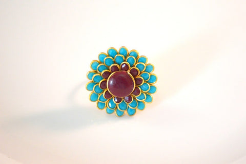 Pretty Pachi Ring in Maroon and Blue Colour - R360