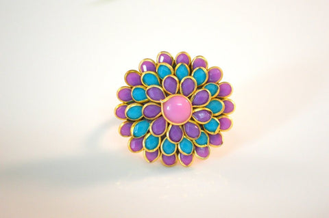 Flawless Pachi Ring in Pink, Purple and Blue Colour - R365