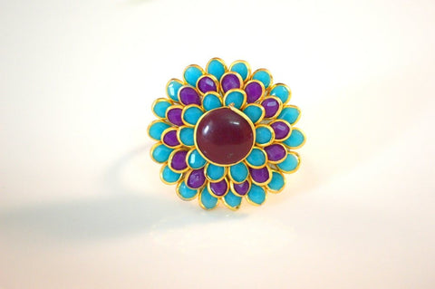 Beauteous Pachi Ring in Maroon, Purple and Blue Colour - R367