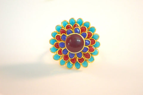 Admirable Pachi Ring in Red, Blue and Maroon Colour - R369