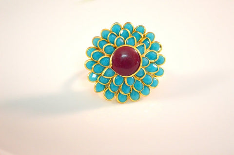 Brilliant Pachi Ring in Maroon and Blue Colour - R373