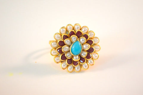 Superb Pachi Ring in Maroon, Blue and White Colour - R381