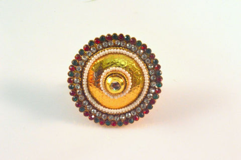 Attractive Polki Ring in Red, Green and White Colour - R402