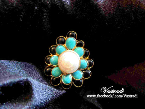 Vibrant Pachi Ring in Blue, Black and White Colour - R94