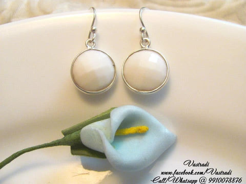 Dinky 92.5 Silver Earrings in White Colour - SE121