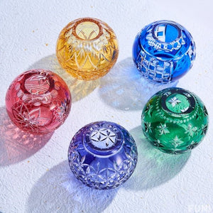 【The Embodiment of Japanese Culture】Edo Kiriko Temari Flower Vase - 5 colors available (1016-19)