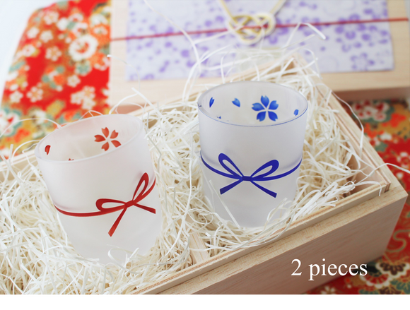 """~0iwai~ Adorable Sake Glasses with Japanese Ribbons and Sakura"" (2 pieces)【1016-01】"