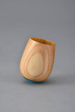 "Made in Japan wooden cup with a cute round design and wood grain - ""Cup SHIRO TILT""【1113-06】"