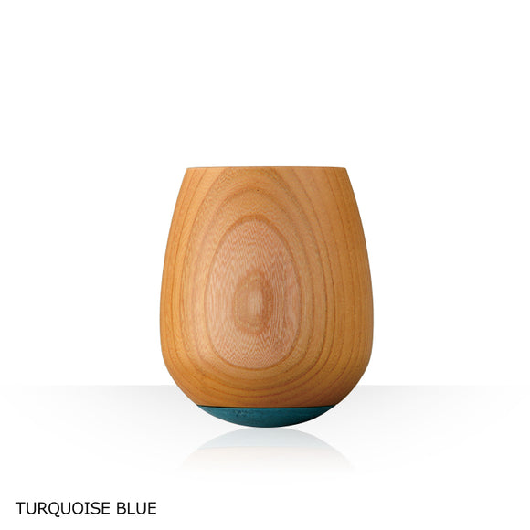 Made in Japan wooden cup with a cute round design and wood grain -