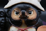 "Japanese lucky charm softened with a cute form: ""Shigaraki ware: Fuku-Oni Kimon Raccoon Dog - paper helmet / red helmet""【1120-08】"