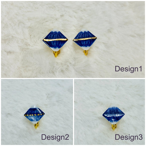 Recommended for those who want natural accessories! Mt. Fuji (diamond shape) pierced earrings / clip-on earrings【1218-03】