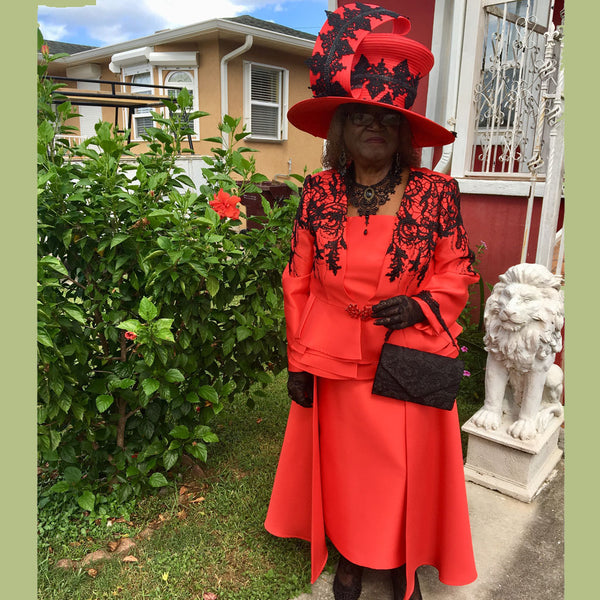 donna vinci red suit and church hat