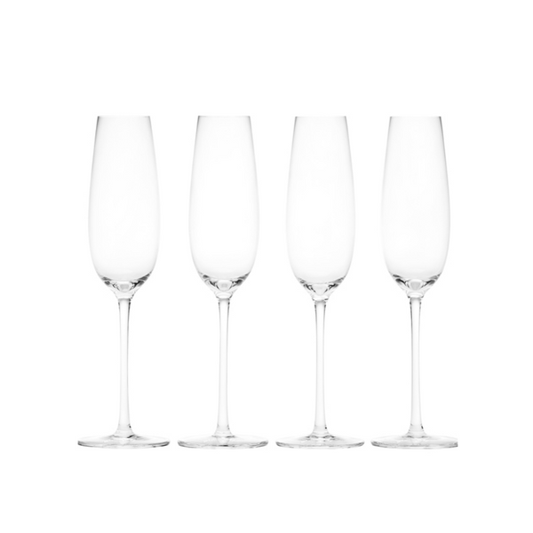 Crystal Sommelier Champagne Flutes, Set of Four