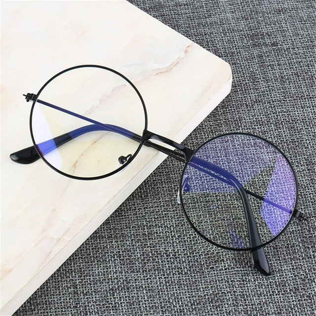 United Kingdom / Light black Anti-blue light Glasses Retro Round Frame - Look 4 Lifestyle