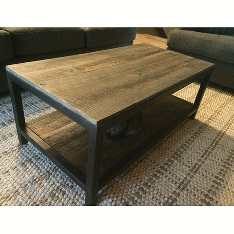 two tier metal and wood coffee table